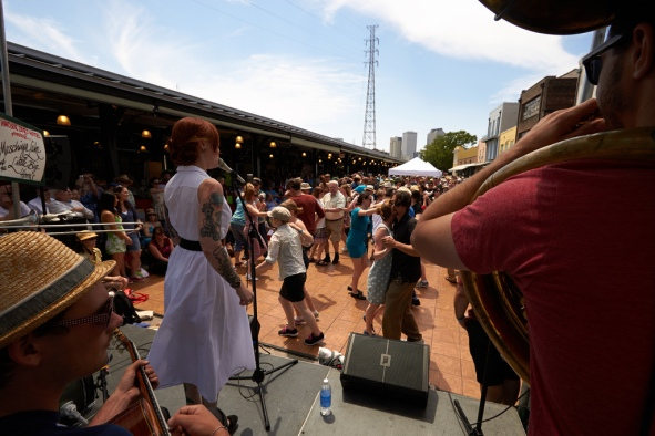 The French Market stage at the French Quarter Festival Photo by Derek  Bridges
