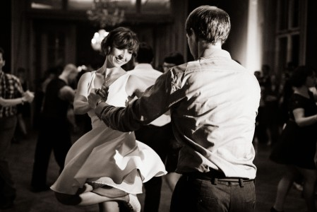 Swing dancing black and white